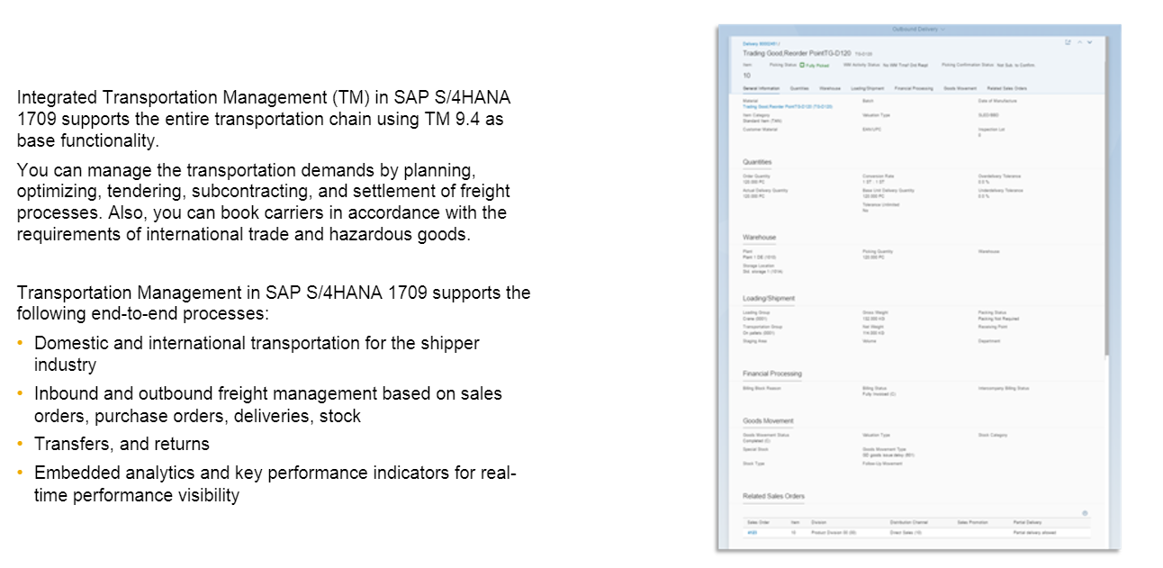 Transportation Management in S/4HANA 1709